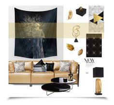 """""""The Last Gold Leaf '"""" by dianefantasy ❤ liked on Polyvore featuring interior, interiors, interior design, home, home decor, interior decorating, Howard Elliott, Shine by S.H.O, Modloft and Lazy Susan"""