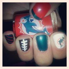 Miami Dolphin Football Nails - Cult Cosmetics Magazine