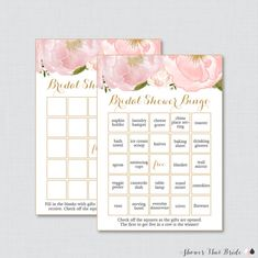 Pink and Gold Floral Bridal Shower Bingo by ShowerThatBrideShop