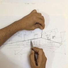 This Simple Trick Can Solve All Your 2 point Perspective Problems , Perspective drawings are an effective way for architects to present their ideas to clients and fellow architects. The most commonly used type of perspective drawing, Drawing Techniques, Drawing Tips, Drawing Classes, You Draw, How To Draw Hands, Perspective Sketch, Vanishing Point, 3d Drawings, Abstract Drawings