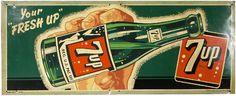 "Vintage tin litho 7up sign 17.5"" x 27"""