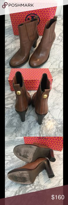 """Tory Burch Sienna heeled ankle boots booties 11 Cute pair of Tory Burch booties in a size 11.  Color is Sienna.  Original retail was $425 and I was lucky enough to get them on sale at Nordstrom for $300!  Nice condition - only worn a few times.  Some minor scratches on the toe area of one boot - can probably be easily covered up with a bit of polish.  Heel is about 4"""" measured from the inside and about 4.5"""" up the back.  Little Tory button on the back.  Box is NOT INCLUDED. Tory Burch Shoes…"""