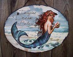 "13"" Rustic Slate Mermaid,Sea Siren Hanging Wall Picture Plaque-Beach/Home Decor"