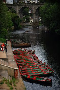 Boats on the River Nidd, Knaresborough viaduct, Yorkshire, England