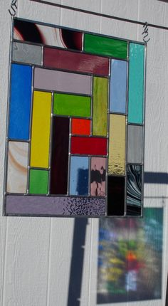 Abstract Stained Glass Panel -Leaded Glass Panel -Blues -Greens -Red color strips