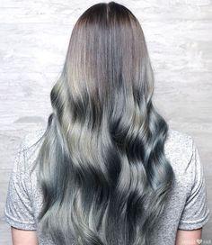 Long Silver oil slick purple blue wavy Hair