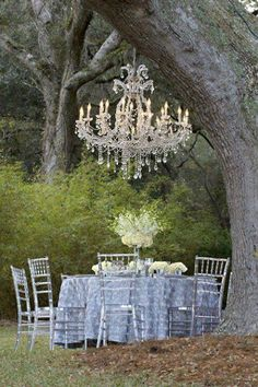 Outdoor Dinner Party. Chandelier creating the space.