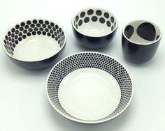 Set 4 IKEA Black & White Polka Dots Circles Small Nesting Bowls Stacking Dishes #IKEA