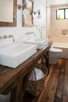 Love the dark wood vanity. this would look amazing in contrast with a while washed herringbone patterned floor. Farmhouse - Farmhouse - Bathroom - San Francisco - Bashford & Dale Interior Design