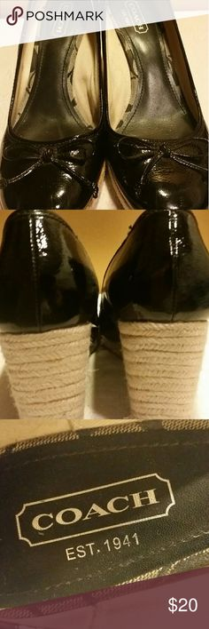 """Coach patent leather heels Coach patent leather espadrille heels.  Length: 9 1/2"""" (measured sole of shoe); width: 3 1/2"""" (measured ball of foot area on sole of shoe).  Cute bow detail on top of shoe.  There isn't a size listed in the shoe. I wear a 9 1/2 and this shoe is a tad too big on me.   Good used condition.  See pictures for more details... Coach Shoes Espadrilles"""