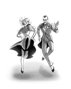 Fred Astaire and Ginger Rogers, modeled after section of the film 'Swing Time' - drawing by scribbledigooks