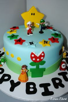 Mario Bros. Cake by Loren Ebert  www.thebakingsheet.blogspot.com