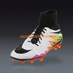 Venta al por mayor Tacos de futbol Nike Hypervenom Phatal II DF FG Blanco Naranja Total Voltio Negro