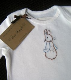 Onesie, Hand Embroidered Peter Rabbit! I just love classic stories like this, so sweet!