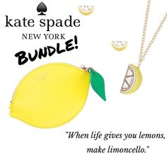 "KS Lemon Bundle: Earrings, Necklace, Coin Purse Brand new with tags! Bundle includes the 12k gold and enamel coated lemon wedge earrings and matching necklace, plus Kate's ""When life gives you lemons, make limoncello"" lemon-shaped coin pouch. Earrings are 1/2""W x 1/4""L with 14k gold filled posts. Necklace is 32"" long with a lobster clasp closure. Lemon pendant is about 1.7""L x 1""W. Coin purse is boarskin embossed leather with matching trim and custom Kate jacquard lining. Zip top closure…"