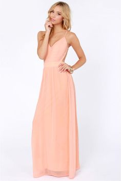 LULUS Exclusive Rooftop Garden Backless Peach Maxi Dress at LuLus.com!
