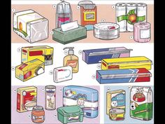 Household supplies for a typical house video with English audio