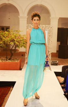 Sea green georgette blouson long dress with T-strap back detailing INR 4,490