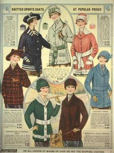 Edwardian 1918 Sweaters - Wider sashes and new button semi belts. More colors coming into fashion.