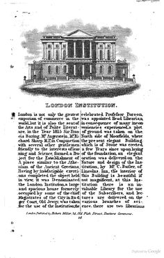 London Institution, London, UK.    From:  1834  Views in London.     via  Google Books   (PD150)     suzilove.com