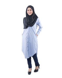 Ashaa Tunic Shirt - Blue - Ramadhan Sale - Modest Maxi Dress Islamic Fashion Modest Maxi Dress, Islamic Fashion, Tunic Shirt, Modest Fashion, Raincoat, Jackets, Blue, Shirts, Collection
