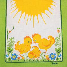 Lovely vintage retro Easter Table runner with chickens and flowers. Designed by textile artist Bodil Bowa Wallman, Sweden. Great condition, as