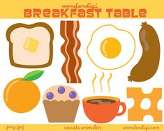 Clipart Breakfast Food Clip Art - Food clip art - Breakfast Clipart Set Breakfast food Clip art, cute!    High resolution (300 dpi) .png files! Images