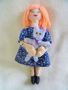 Punk Girl Doll Hugging A Kitty - Handmade Doll With Tattoos, Peach Hair - $35