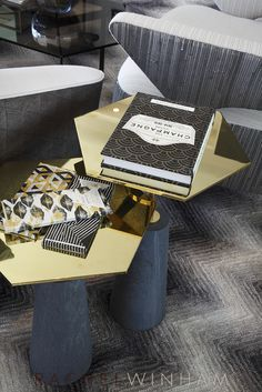 Hexagonal brass side tables recently used by Rachel Winham Interior Design at a project at Southbank Tower. www.rachelwinham.com
