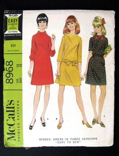 1967 McCalls sewing pattern 8968 Misses Dress in 3 versions