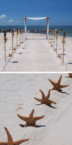 DIY Beach Wedding Ceremony Arch / http://www.himisspuff.com/starfish-beach-wedding-ideas/4/