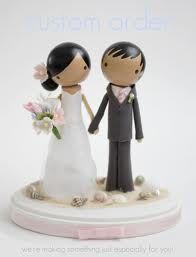 Wooden wedding cake topper/ figures