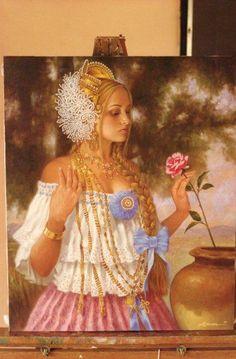 La Dama, la Pollera y la Rosa. Por el pintor Panameño  Luis Córdoba