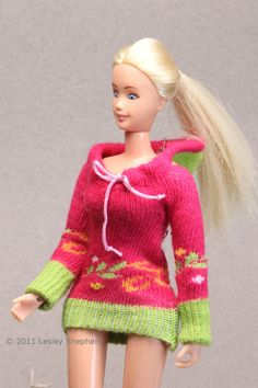 Sew this easy to make doll's sweater from a knit sock. The sweater can be made in many sizes to fit a range of doll scales.
