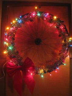 bike wheel wreaths for the holidays! Outdoor Christmas, Family Christmas, Christmas Time, Christmas Wreaths, Christmas Decorations, Xmas, Christmas Things, Bicycle Crafts, Bike Craft