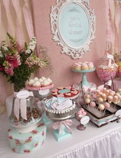 """Photo 1 of 54: Vintage Shabby Chic / Bridal/Wedding Shower """"Zoe's Bridal Shower""""   Catch My Party  #shabbychic #PartyIdeas party food drink ideas #summer"""