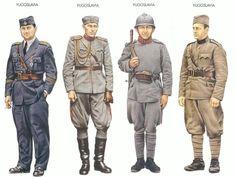 Esercito Yugoslavo Da SX Capitano - Aviazione Capitano - Fantería Soldato - Fantería 1º Sergente  - Artiglieria