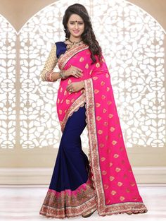 Pink and Blue Georgette Saree with Embroidery Work