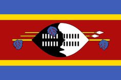 The flag of Swaziland was officially adopted on October 30, 1967. It's modeled after a flag given to the Swazi Pioneer Corps by King Sobhuza II in 1941.     The centered regiment shield features a supporting staff with hanging tassels of feathers. Two Swazi ceremonial spears are placed above the staff.
