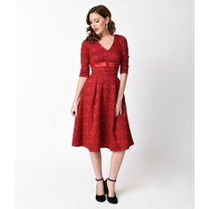 Voodoo Vixen Red Lace Three-Quarter Sleeve Jane Flare Dress (4.320 RUB) ❤ liked on Polyvore featuring dresses, red cocktail dress, red lace dress, lace overlay dress, white a line dress and red lace cocktail dress