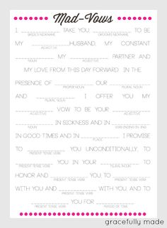 Bridal MadVows by gracefullymadedesign on Etsy, $15.00. This would be fun at the bachelorette party!