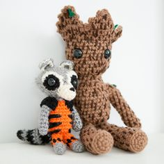 Amigurumi Crochet Rocket and Groot, from Guardians of the Galaxy!  thebhivecreations.com