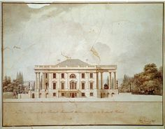 1807 Plans for the White House East Front by Benjamin Henry Latrobe in Library of Congress. Thomas Jefferson, Us History, American History, American War, White House Garden, Blair House, First Family Photos, American Mansions, Houses In America
