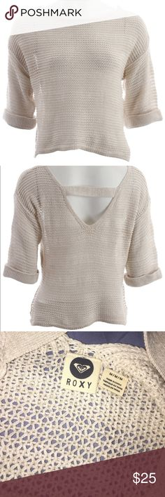 NWT Roxy Sweater Total Uproar For those times you need a sweater with a touch of glamour, the Roxy Total Uproar Sweater for women is perfect. This sweater is a 100% cotton pullover that feels luxurious against your skin. The pointelle detailing creates texture and keeps the garment cooler. Along with the open V back and 3/4 inch sleeves, you get a simple sweater that is comfortable and has a dash of style.  Feel free to bundle and make an offer! Roxy Sweaters