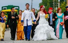The ultimate fairytale ending? Disney fanatics tie the knot dressed as Ariel and her Prince Charming