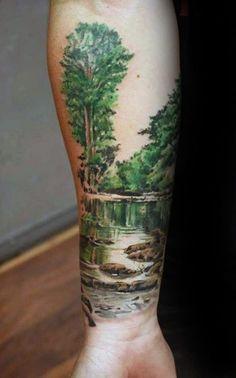Beeindruckende Landschaft Jungs Unterarm- Tattoo