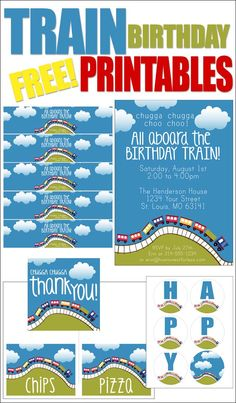 Train Themed Birthday Party with FREE Printables: includes invite, water bottle labels, food cards, birthday banner and favor tags/cupcake toppers.