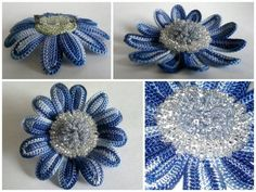 mavi renkli örgü çiçek