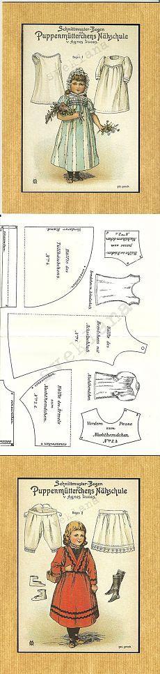Ретро выкройки одежды для кукол