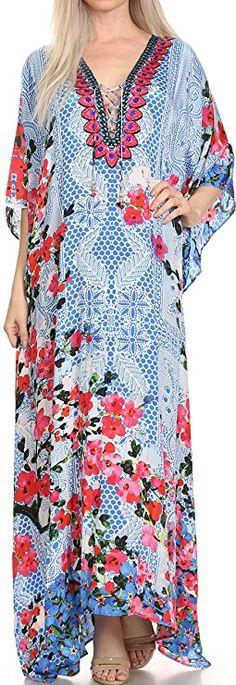 2d4fa4ce4c Sakkas 17193 - LongKaftan Georgettina Ligthweight Printed Long Caftan Dress  / Cover Up - 17193-TurquoiseMulti -OS at Amazon Women's Clothing store: